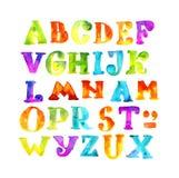 Alfabeto fatto a mano dell'acquerello del bambino Fotografia Stock