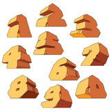 Alfabeto feito da pedra: dígitos Fotos de Stock Royalty Free