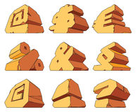 Alfabeto feito da pedra: símbolos Imagens de Stock Royalty Free