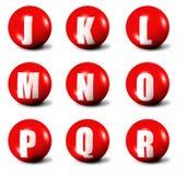 Alfabeto feito das esferas 3D vermelhas Imagens de Stock Royalty Free