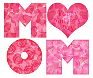 Alfabeto feliz de la mama del día de madre Fotos de archivo