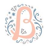 Alfabeto femminile della lettera del ` del ` B di progettazione del monogramma - stile di stile Liberty Fotografia Stock Libera da Diritti