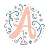 Alfabeto femminile della lettera del ` del ` A di progettazione del monogramma - stile di stile Liberty Fotografie Stock Libere da Diritti