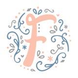 Alfabeto femminile della lettera del ` del ` F di progettazione del monogramma - stile di stile Liberty Immagini Stock