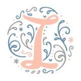 Alfabeto femminile della lettera del ` del ` I di progettazione del monogramma - stile di stile Liberty Immagini Stock