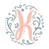 Alfabeto femminile della lettera del ` del ` K di progettazione del monogramma - stile di stile Liberty Immagine Stock Libera da Diritti