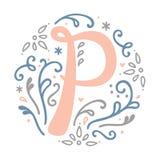 Alfabeto femminile della lettera del ` del ` P di progettazione del monogramma - stile di stile Liberty Immagine Stock Libera da Diritti