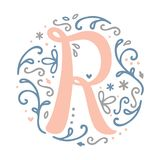 Alfabeto femminile della lettera del ` del ` R di progettazione del monogramma - stile di stile Liberty Fotografia Stock