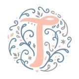 Alfabeto femminile della lettera del ` del ` T di progettazione del monogramma - stile di stile Liberty Immagine Stock
