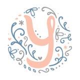 Alfabeto femminile della lettera del ` del ` Y di progettazione del monogramma - stile di stile Liberty Fotografie Stock
