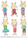 Alfabeto femminile maschio Set_eps del gatto di tiraggio Fotografia Stock