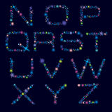 Alfabeto festivo de las estrellas brillantes del color Carácter N-Z ilustración del vector