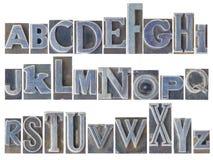 Alfabeto fijado en tipo mezclado del metal fotografía de archivo