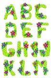 Alfabeto A floral tropical a M Fotografía de archivo libre de regalías