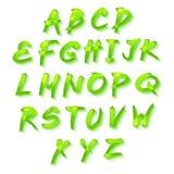 Alfabeto floreale su fondo verde, molla di formato di vettore Immagini Stock Libere da Diritti