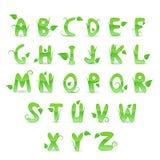 Alfabeto floreale verde Fotografia Stock Libera da Diritti