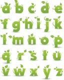 Alfabeto floreale verde illustrazione vettoriale