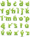 Alfabeto floreale verde Immagine Stock