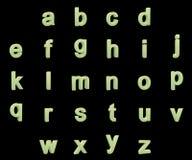 Alfabeto fosforescente de las pequeñas letras Fotos de archivo libres de regalías
