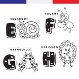 Alfabeto francés Caracol, hormiga, rana, erizo Letras y caracteres del vector Foto de archivo libre de regalías