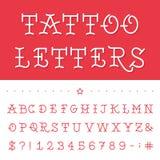 Alfabeto - fuente de vector del tatuaje Fotografía de archivo
