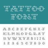 Alfabeto - fuente de vector del tatuaje Foto de archivo