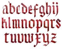 Alfabeto gótico de la fuente Imagen de archivo libre de regalías