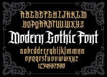 Alfabeto gótico moderno del vector en marco Fotos de archivo