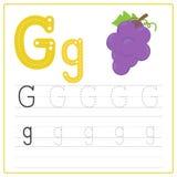 Alfabeto G de la tarjeta de la escritura Fotos de archivo libres de regalías