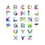Alfabeto geométrico colorido Símbolos decorativos latinos da fonte elementos do projeto do logotipo do vetor Fotografia de Stock Royalty Free