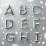 Alfabeto geométrico do fractal cinzento na moda, parte 1. Fotografia de Stock Royalty Free