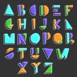Alfabeto geometrico del fumetto Fotografie Stock