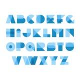 Alfabeto geometrico della fonte di forme Lettere trasparenti della sovrapposizione royalty illustrazione gratis