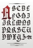 Alfabeto gotico della fonte tipografica Fotografia Stock Libera da Diritti