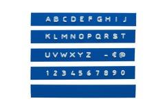 Alfabeto gravado Fotografia de Stock