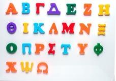 Alfabeto greco del giocattolo Fotografia Stock