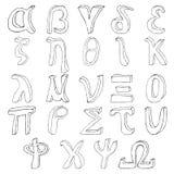 Alfabeto greco dissipante della mano Fotografie Stock
