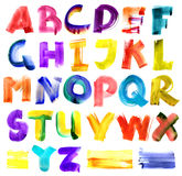 Alfabeto Grungy dell'acquerello Immagini Stock