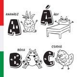 Alfabeto húngaro Piña, cama, rana, pollo Letras y caracteres del vector Fotos de archivo libres de regalías
