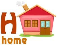 Alfabeto H con el hogar Imagenes de archivo