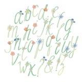 Alfabeto Handdrawn de la acuarela con las flores Fotografía de archivo libre de regalías