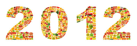 Alfabeto hecho de frutas y verdura Fotografía de archivo