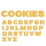 Alfabeto hecho de galletas en diseño plano Foto de archivo