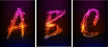 Alfabeto hecho de la luz de neón