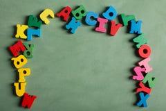Alfabeto hecho de letras de madera Fotografía de archivo libre de regalías