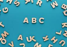 Alfabeto hecho de letras de madera Fotos de archivo libres de regalías