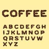 Alfabeto hecho del café en diseño plano Fotos de archivo libres de regalías