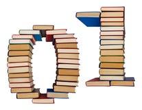 Alfabeto hecho fuera de los libros, cuadros 0 y 1 Imagen de archivo libre de regalías