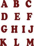Alfabeto hecho punto rojo en el fondo blanco Vector ABC Foto de archivo libre de regalías