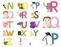 Alfabeto ilustrado N-Z Fotografía de archivo